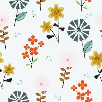 Bonito mão desenhada flores sem costura de fundo
