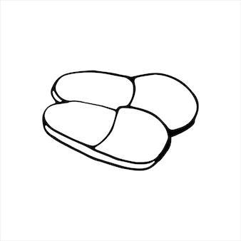Bonito mão desenhada inverno quente chinelos. ilustração em vetor doodle para cartões, cartazes, adesivos e design sazonal. isolado em fundo branco