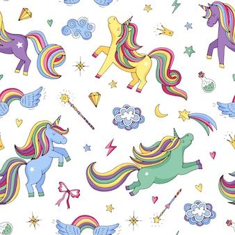 Bonito mão desenhada mágicas unicórnios e estrelas sem costura padrão