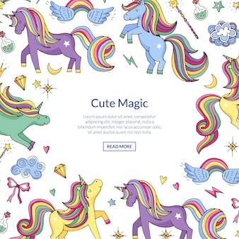 Bonito mão desenhada mágicos unicórnios e estrelas de fundo