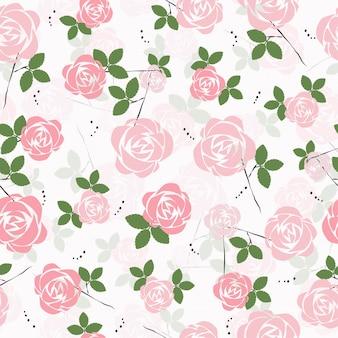 Bonito mão desenhada rosa rosa flor padrão sem emenda