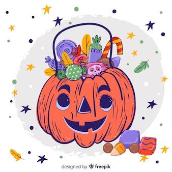 Bonito mão desenhada saco de abóbora de halloween