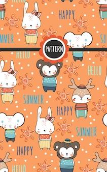 Bonito mão desenhando papel de parede de doodle dos desenhos animados de família animal selvagem na moda verão Vetor Premium