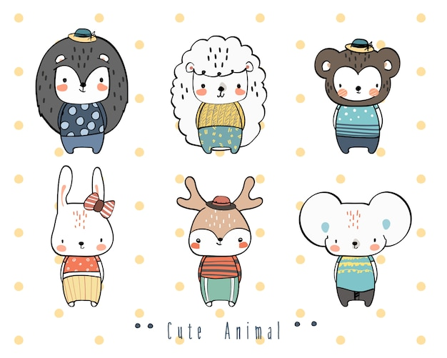 Bonito mão desenho animal selvagem família saudação cartoon doodle papel de parede