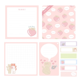 Bonito mão ilustrações desenhadas notas pegajosas, etiqueta, coleção de gatinho adesivos