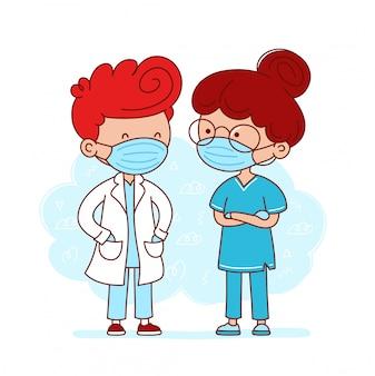 Bonito médico e enfermeiro com máscaras médicas. ilustração de linha plana de personagem de desenho animado. isolado no fundo branco