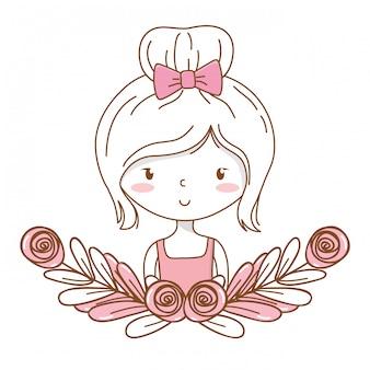 Bonito, menina, caricatura, elegante, equipamento, vestido, retrato, floral, grinalda, quadro