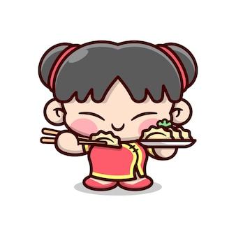 Bonito menina chinesa que come aplate de dim sum design de mascote de desenho animado de alta qualidade