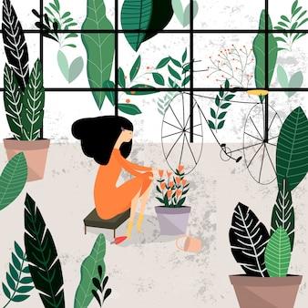 Bonito, menina jovem, planta, jardim