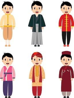 Bonito, menino asian, vestido, diferença, nacionalidade
