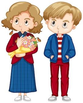 Bonito menino e menina em roupas vermelhas e azuis