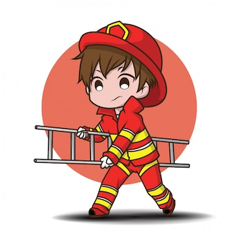 Bonito, menino jovem, desgastar, bombeiro, caricatura