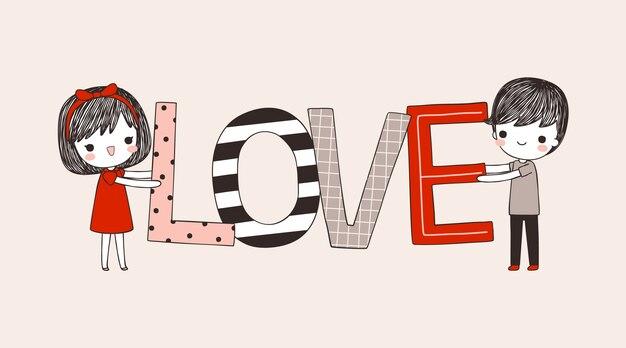 Bonito, menino menina, segurando, grande, texto, amor, em, apartamento, estilo
