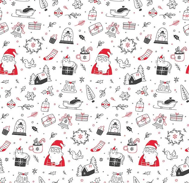 Bonito natal doodle sem costura padrão