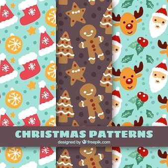 Bonito natal padrões de decoração pintada à mão