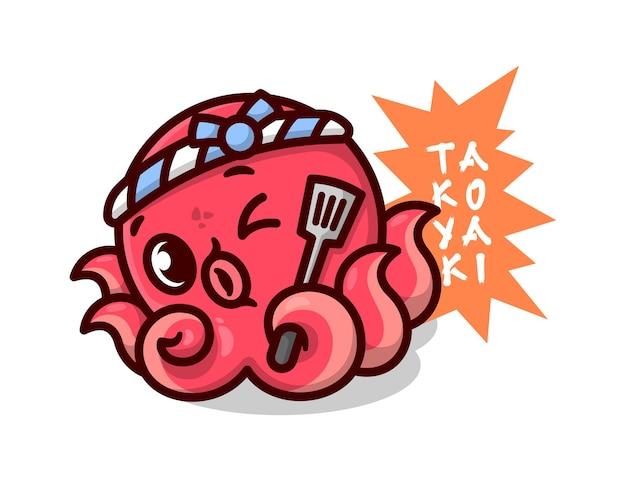 Bonito octopus vermelho usando headband japonês e trazendo uma espátula desenhos animados de alta qualidade design de mascote Vetor Premium