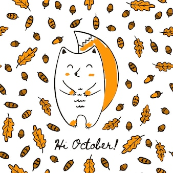 Bonito outono mão desenhar esquilo no padrão sem emenda de folhas de bolota e cones. vector background esquilo na floresta com a inscrição olá outubro para papel de parede de impressão de embalagens têxteis.