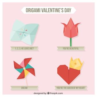Bonito pacote de elementos do origami