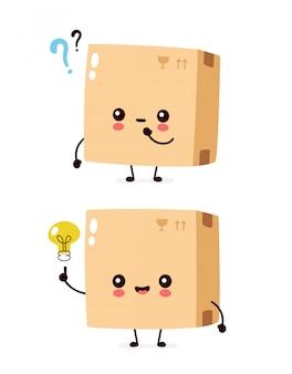 Bonito pacote feliz sorridente, caixa de entrega com ponto de interrogação e lâmpada de ideia. ilustração de personagem de desenho animado plana. isolado no branco. personagem de caixa de entrega