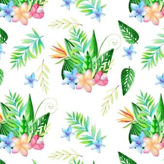 Bonito padrão aquarela com flores e folhas tropicais