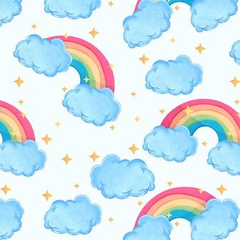 Bonito padrão aquarela com nuvens, arco-íris e estrelas