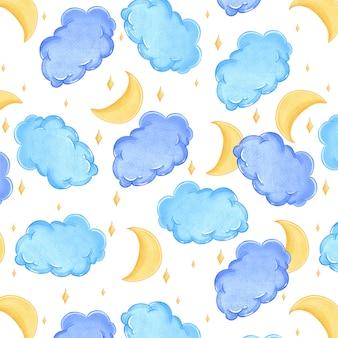 Bonito padrão aquarela com nuvens, lua e estrelas