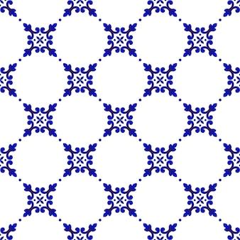 Bonito padrão azul e branco