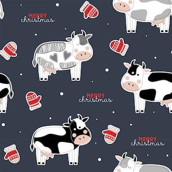 Bonito padrão de natal sem costura com vacas. ano do touro. ano novo. feliz natal.