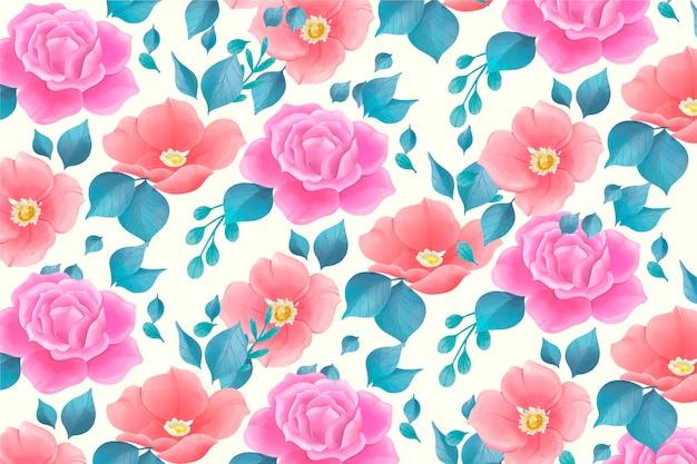Bonito padrão floral em aquarela com flores rosas