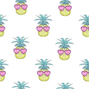 Bonito padrão sem emenda com abacaxis