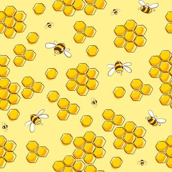 Bonito padrão sem emenda com abelhas voando. ilustração eps10 do vetor.