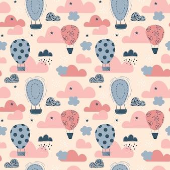 Bonito padrão sem emenda com balões. ilustração em vetor infantil em estilo escandinavo