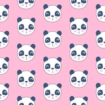 Bonito padrão sem emenda com cabeça de panda