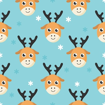 Bonito padrão sem emenda com cervos de bebê dos desenhos animados e neve para crianças. animal no fundo azul.