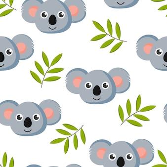 Bonito padrão sem emenda com coala de bebê dos desenhos animados