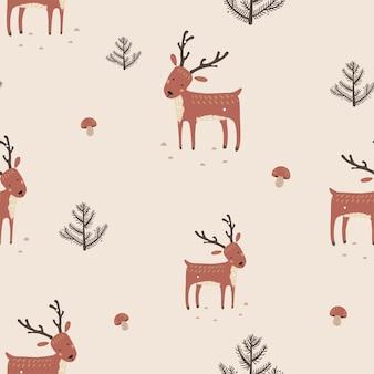 Bonito padrão sem emenda com cogumelos de veado e árvores