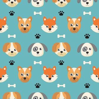 Bonito padrão sem emenda com desenhos animados bebê cachorro e osso para crianças.