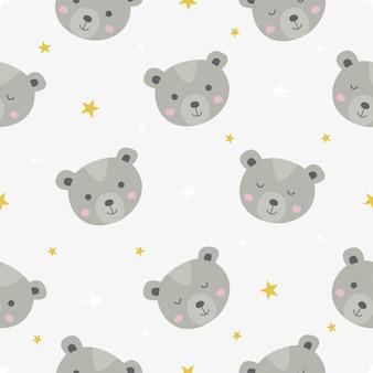Bonito padrão sem emenda com desenhos animados de ursinhos de pelúcia