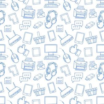 Bonito padrão sem emenda com elementos de computador azul em branco