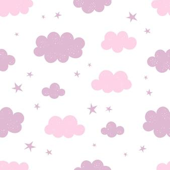 Bonito padrão sem emenda com estrelas e nuvens, decoração de berçário, impressão para roupas de bebê, papel de parede. ilustração vetorial em estilo simples