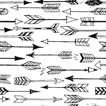 Bonito padrão sem emenda com flechas e corações. pode ser usado para papel de parede ou moldura para uma decoração de parede ou pôster, para preenchimentos de padrão, decoração de casamento, planos de fundo de página da web, têxteis e muito mais