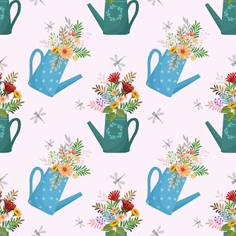 Bonito padrão sem emenda com flores em latas molhando.