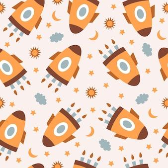 Bonito padrão sem emenda com foguetes coloridos e estrelas em fundo pastel. design infantil moderno
