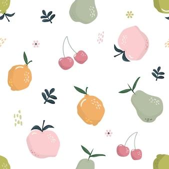 Bonito padrão sem emenda com frutas.