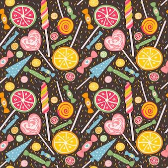 Bonito padrão sem emenda com pirulitos e doces.