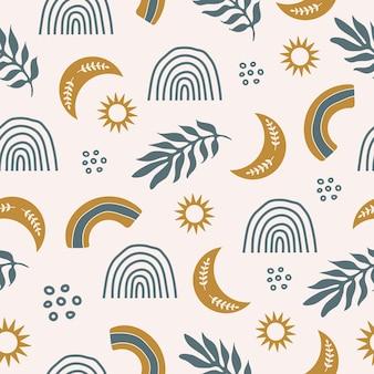 Bonito padrão sem emenda com plantas coloridas, estrelas, arco-íris e lua em fundo pastel