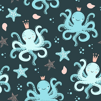 Bonito padrão sem emenda com polvo, estrela do mar.