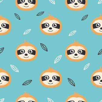 Bonito padrão sem emenda com preguiças de bebê dos desenhos animados e folhas para crianças. animal no fundo azul.