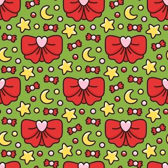 Bonito padrão sem emenda com símbolos de natal arco vermelho doce estrela lua
