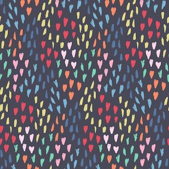 Bonito padrão sem emenda com uma confusão de corações rosa, elementos pontilhados em azul e amarelo em fundo escuro